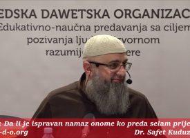 Da li je ispravan namaz onome ko preda selam prije imama? – dr. Safet Kuduzović